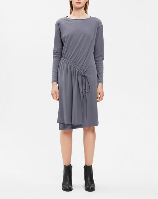 Drawstring Wrap Jersey Dress Smoke