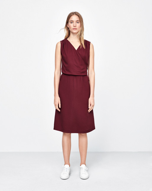 Drawstring Wrap Dress Mulberry