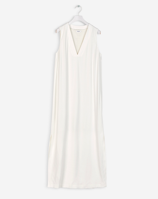 Deep V-Dress Off White