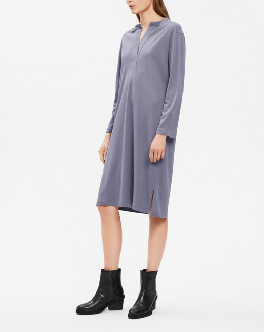 Side Slit Tunic Dress Smoke