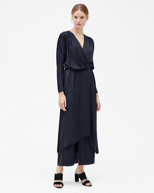 Drapey Wrap Dress Navy