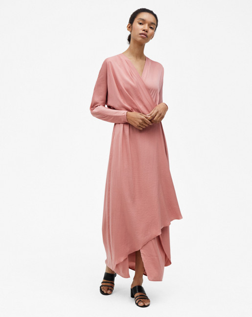 Drapey Wrap Dress Salmon