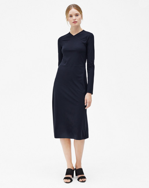 Flared Seam Dress Navy