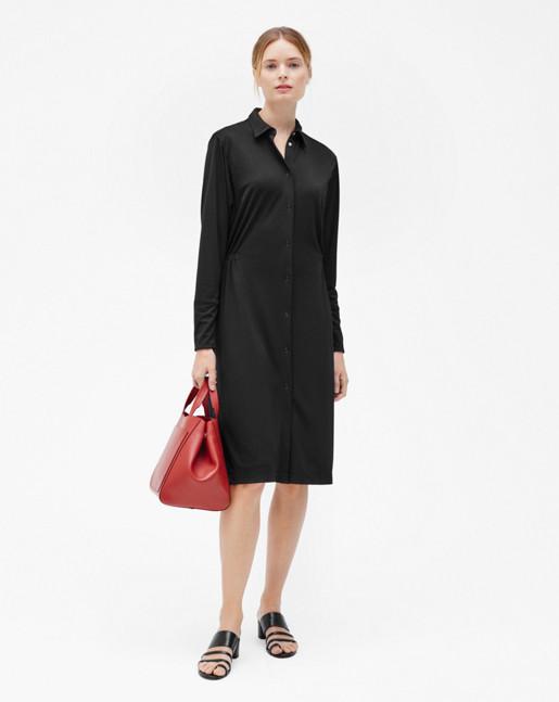 Jersey Shirt Dress Black