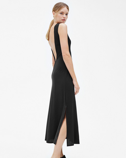 Open Back Tank Dress Black