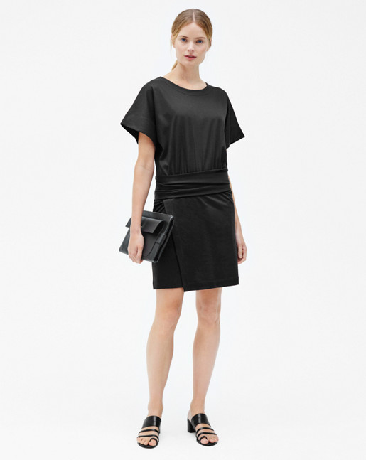 Twisted Belt T-shirt Dress Black
