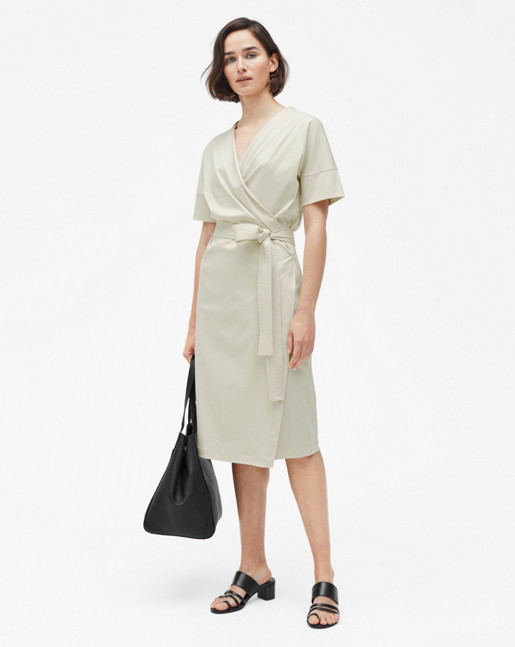 Belted Wrap Dress Bone