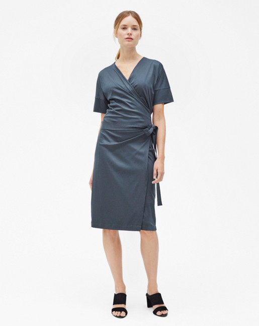 Belted Wrap Dress Pigeon