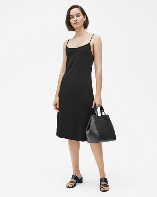 Jersey Crepe Strap Dress Black