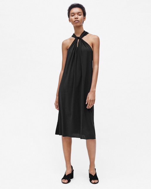Twist Neck Dress Black