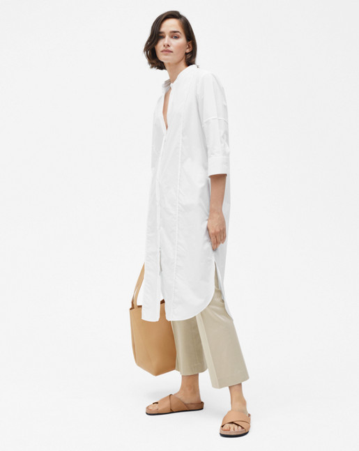 Cotton Shirt Dress White