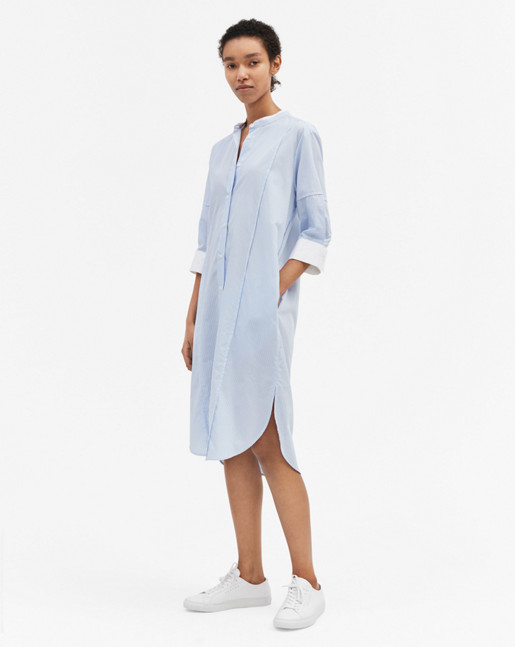 Cotton Striped Shirt Dress White/Blue