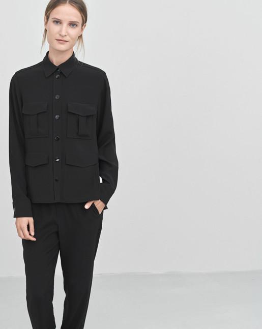 Hanna Drapey Shirt Jacket Black