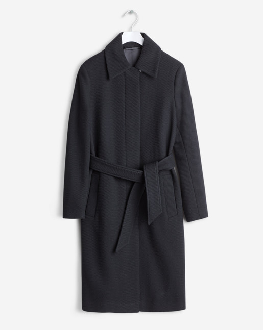 Iza Wool Belt Coat Black