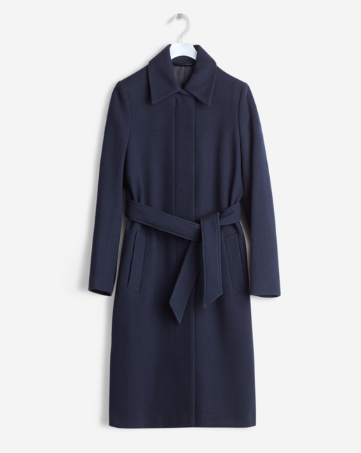 Iza Wool Belt Coat Navy