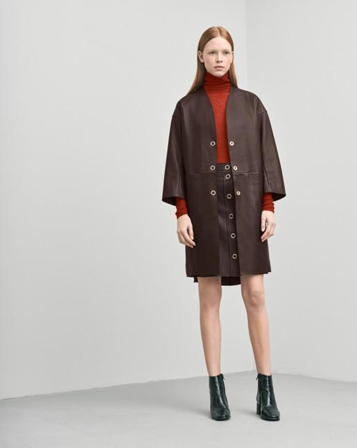 Alicia Leather Coat Dk Chocolate