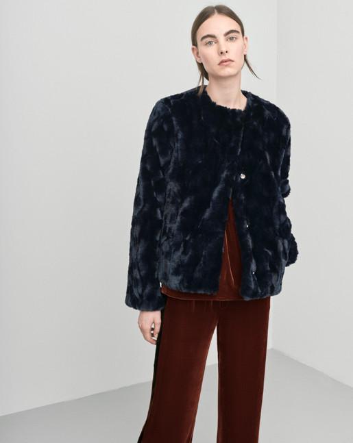 Faux Fur Jacket Blue Graphite