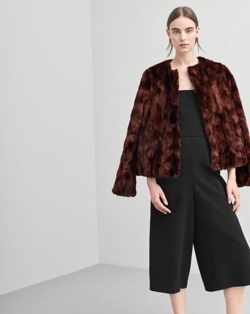 Faux Fur Jacket Warm Red