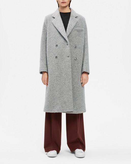 Edine Shaggy Tailored Coat Grey Mel.