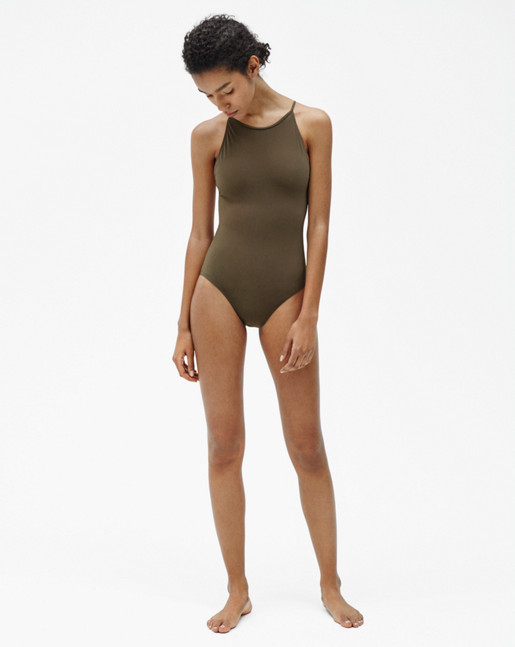 Tie-back Swimsuit Khaki Green