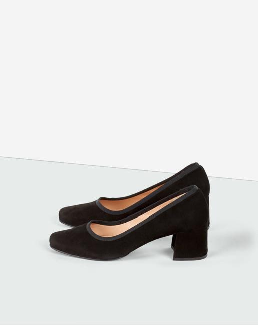 Fei Mid Heel Shoe Black Suede