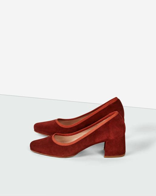 Fei Mid Heel Shoe Dk Red Rust