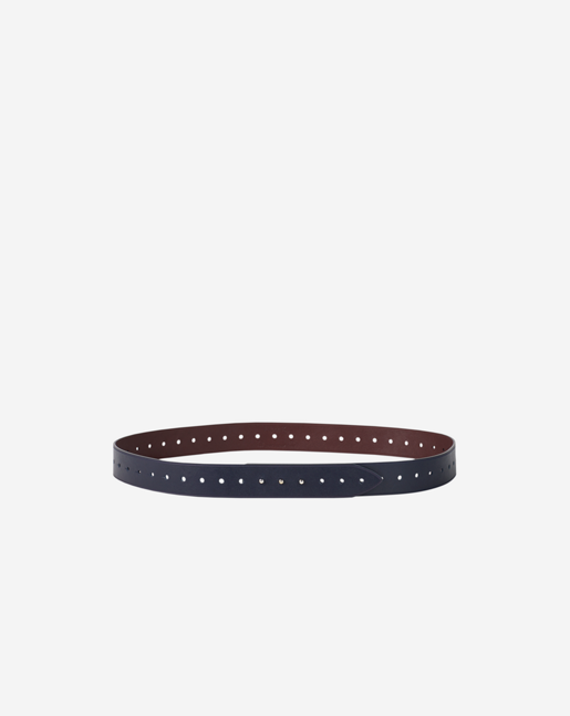Perforated Leather Belt Navy/Bordeaux