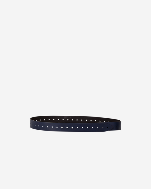 Perforated Leather Belt Navy/Black