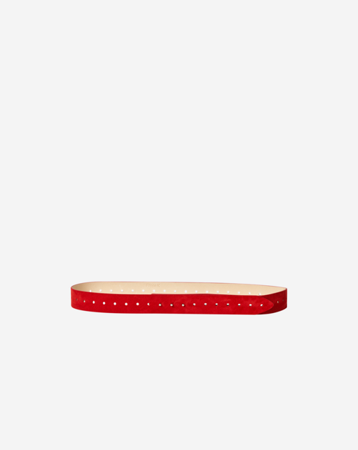 Perforated Leather Belt Poppy