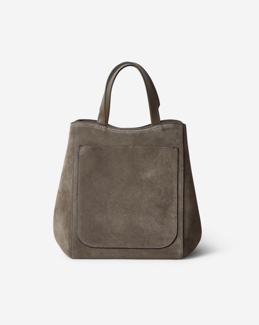 Shelby Mini Bucket Leather Bag Dk Stone Suede