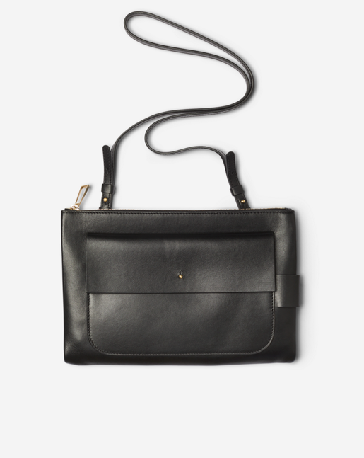 Ellie Leather Shoulder Bag Black