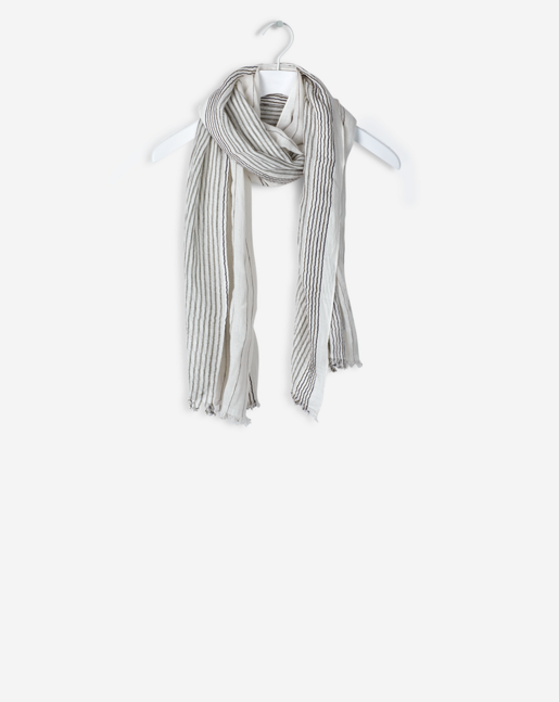 Cotton Linen Stripe Scarf Bone