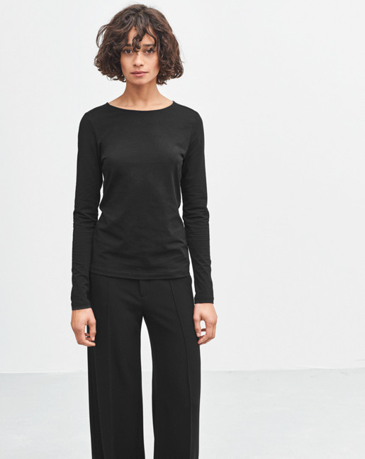 Fine Lycra R-neck Top Black
