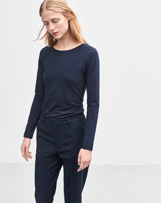 Fine Lycra R-neck Top Navy