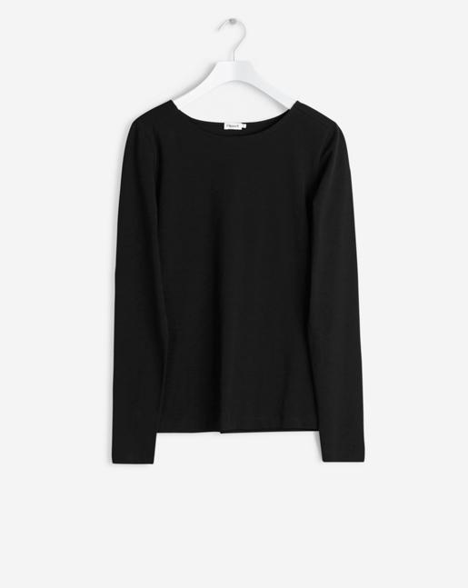 Fine Lycra R-neck Top Black
