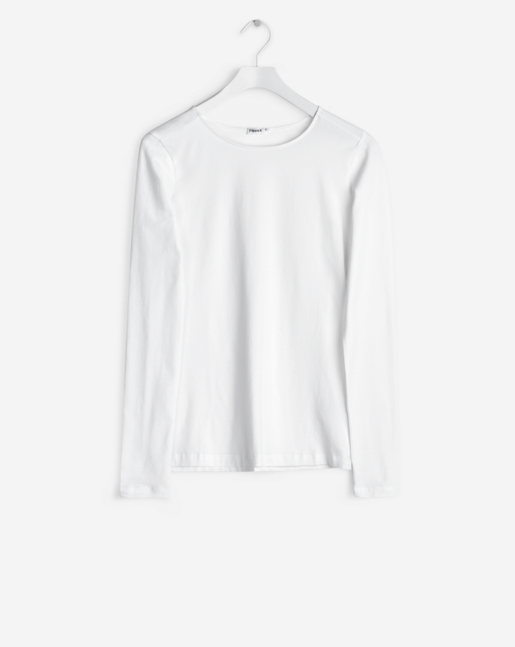 Fine Lycra R-neck Top White