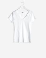 Fine Lycra V-Neck Top White