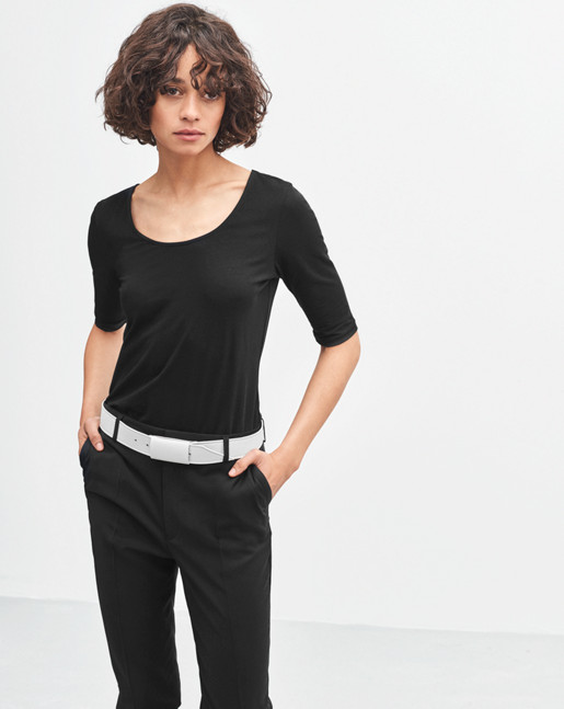 Fine Lycra Scoop Top Black