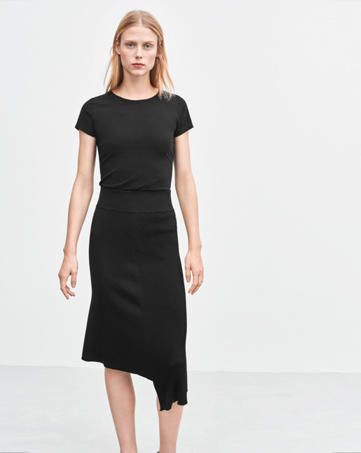 Fine Lycra T-Shirt Black