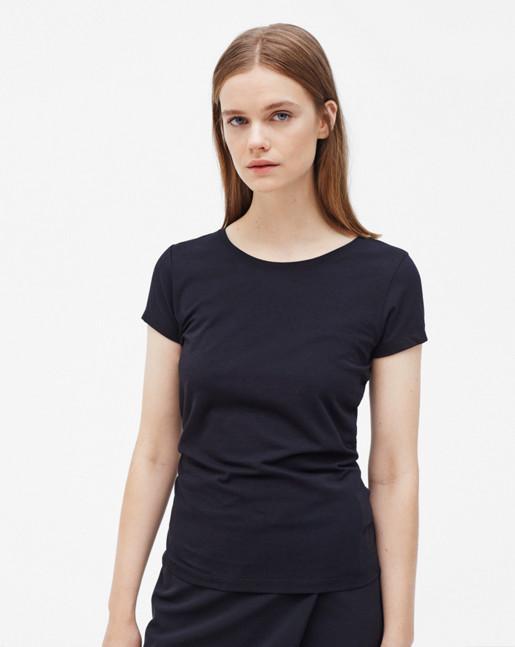 Fine Lycra T-Shirt Navy