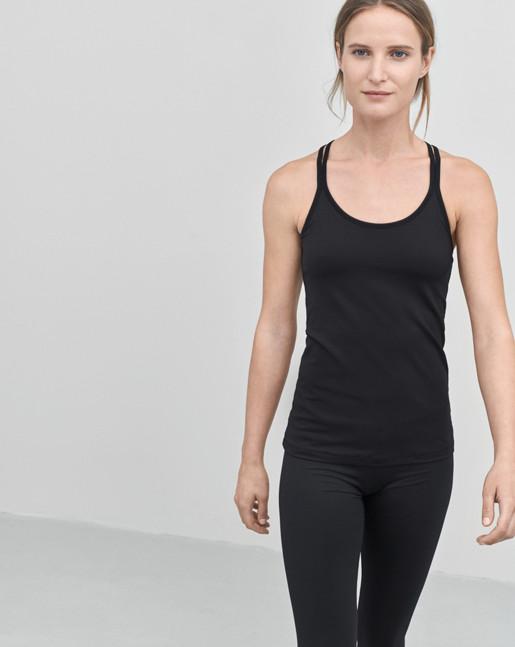 Cross-back Yoga Top Black