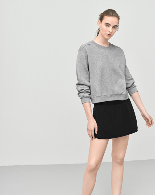 Cropped Sweat Top Grey