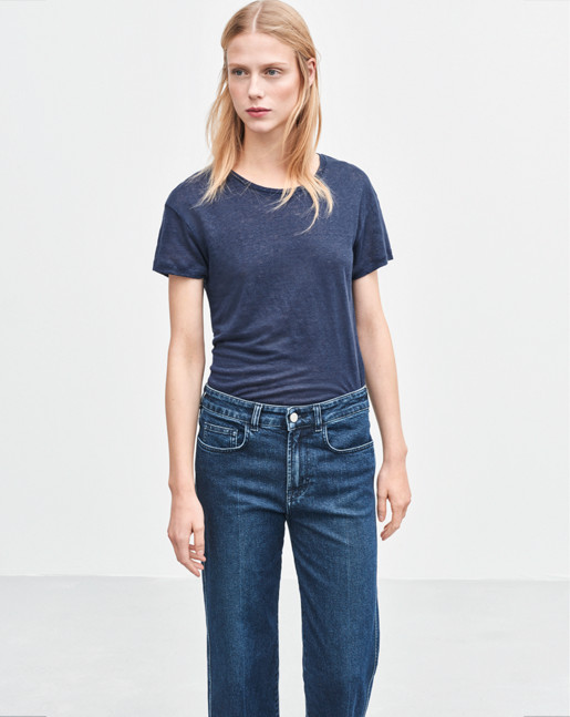 Linen T-shirt  Bright Navy