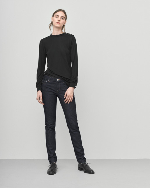 Crepe Button Jersey Top