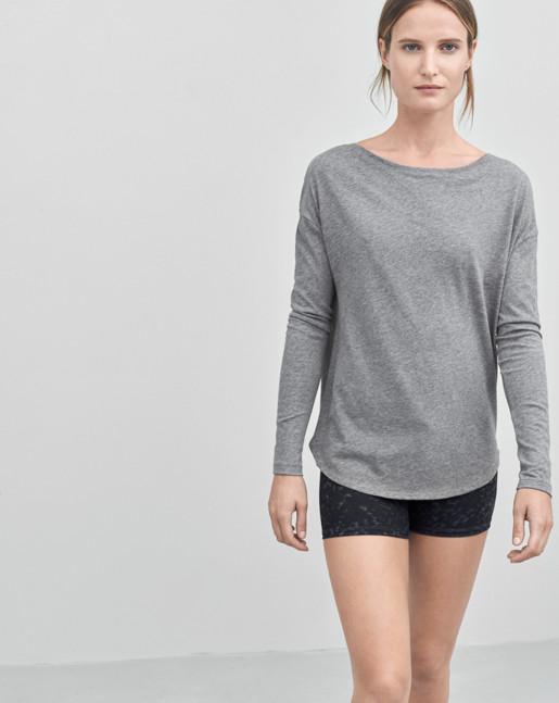 Pima Cotton Long Sleeve Top Grey