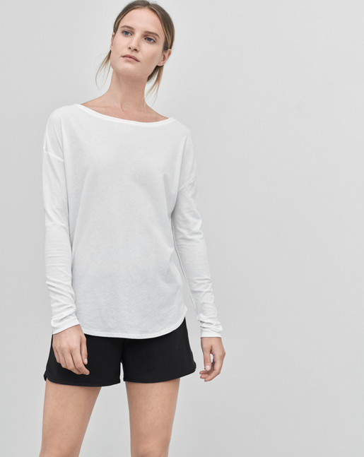 Pima Cotton Long Sleeve Top White