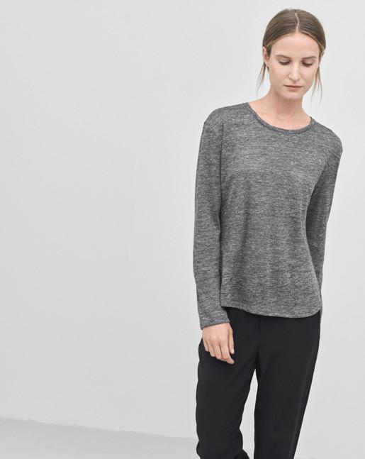 Linen Long Sleeve Split Top Antracite