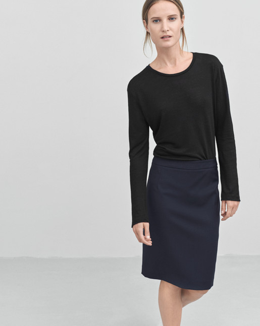Linen Long Sleeve Split Top Black