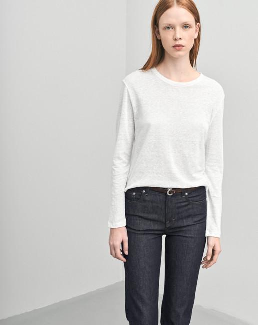 Linen Long Sleeve Split Top White