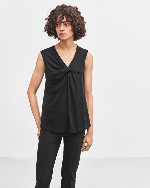 Linen Twist Top Black
